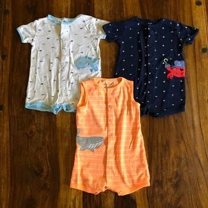 Carter's nautical rompers lot of 3